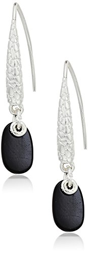 Napier Silver-Tone and Jet Threader Drop Earrings