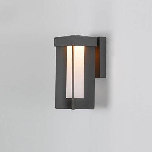 Ibalody Led Cuadrado Gris Exterior Impermeable acrílico Pared Linterna Luces Europeo Moderno Metal Aluminio Pared Aplique...