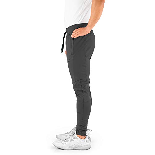 Contour Athletics Men's Joggers (HydraFit) Track Pants Sports Workout Sweatpants with Zipper and Back Pockets CA0003-LG Grey