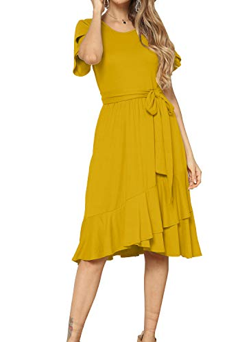Women Casual Flowy Midi Teen Tunic Dress with Belt Golden XL (Dress Women Size 14)