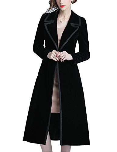 - Omoone Women's Double Breasted Lapel Midi Long Vintage Velvet Trench Coat (L) Black