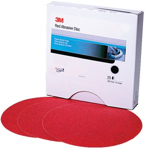 3M Red Abrasive PSA Disc, 5 in, P220 A Weight, 100 discs per roll ()