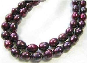 (Sample of Two Beads of Black Cherry 11x10 to 13x10mm Freshwater Pearls 9446 Spacer Beads and Roll Crystal String for Bracelets Jewelry Making)