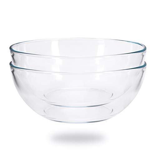 FOYO 8-inch Round Tempered Glass Bowl for Mixing Salad or Cereal, Set of - Small Mixing Inch 8 Bowl