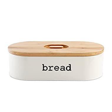 SveBake Metal Bread Box for Kitchen Vintage & Retro Bread Bin with Bamboo Lid, Cream (Included a Free PDF Baking E-BOOK)