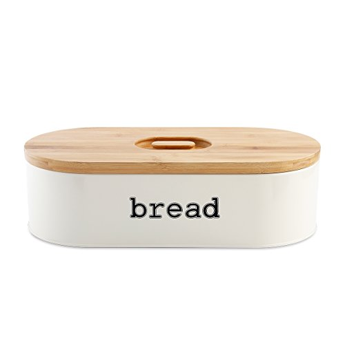 Retro Bin (SveBake Metal Bread Box for Kitchen Counter Vintage & Retro Bread Bin with Bamboo Lid, Cream (Included a Free PDF Baking E-BOOK))