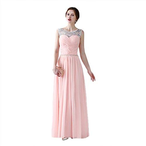 Dress Scoop cotyledon Sleeveless Long Women`s Formal Dresses Pink Neck zA4fwHqn