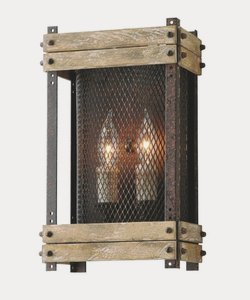 Wood Standard Sconce (Troy Lighting Merchant Street 2-Light Wall Sconce - Rusty Iron with Salvaged Wood Slats Finish and Iron Mesh Shade)