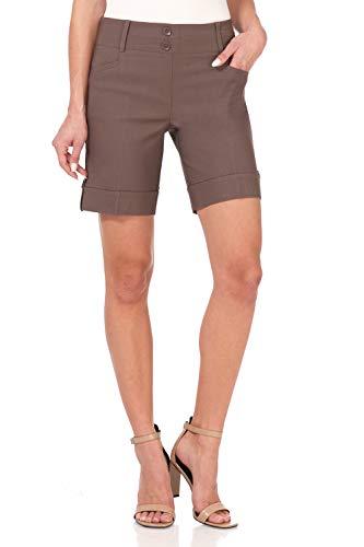 Rekucci Women's Ease Into Comfort 8 inch Chic Urban Short (12,Mocha)