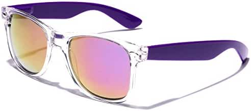 Two Tone Sunglasses Crystal Clear Translucent Frame Color Mirror Lens