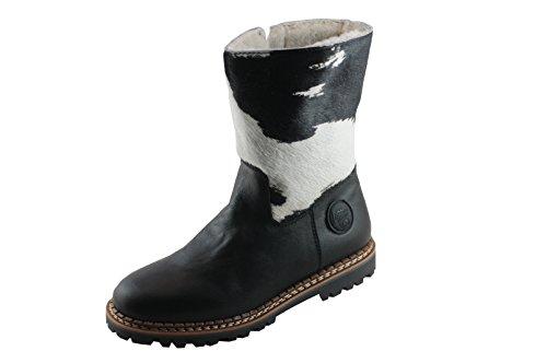 cuir cuir noir blanc Multicolore Weiß doublure pour femme Schwarz ammann semelle «crans cuir d'agneau profilée xnIwqYZ0A