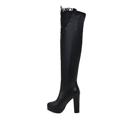 AllhqFashion Damen Hoher Absatz Rein Rund Zehe Weiches Material Ziehen auf Stiefel Schwarz