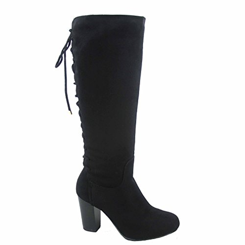 - Top Moda Sophie-30 Women's Back Lace Up Chunky Heel Zipper Mid-Calf Boots Shoes (6.5, Black)