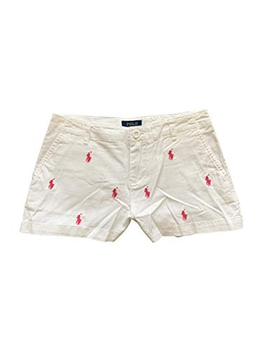 Polo Ralph Lauren Girls Shorts Classic Chino Multi Pony Short (12, White/Pink Pony)
