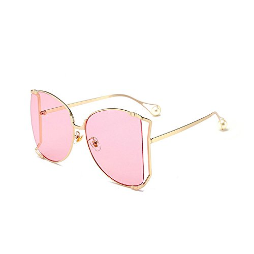 MINCL/Alloy Oversized Sunglasses Women/Men 2018 New Fashion Luxury Hollow Frame Shades With Pearl (Pink Pearl Shades)