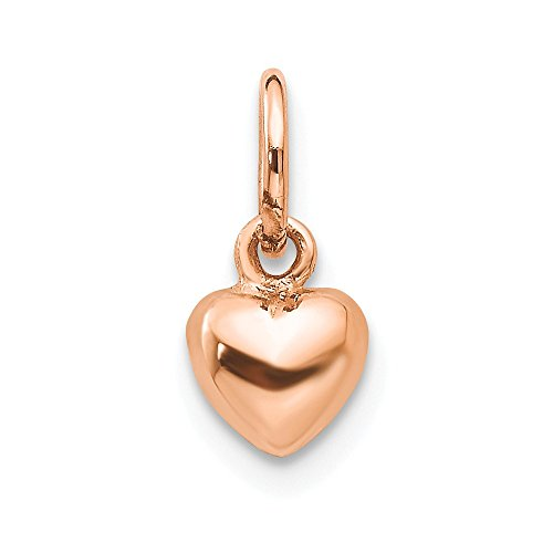 (JewelrySuperMart Collection 14k Gold Tiny Petite Puffed Heart Pendant Charm - (Rose Gold, 0.50 Inch Height))