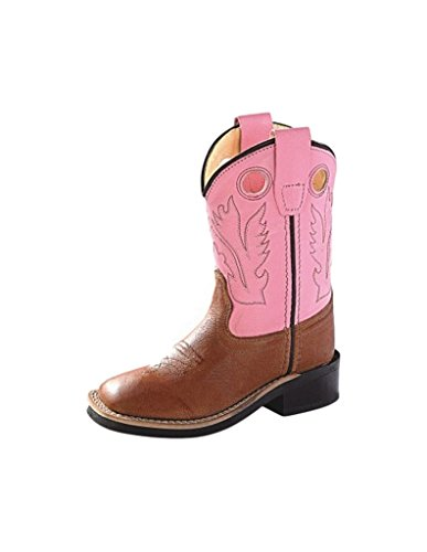 Old West Toddler-Girls' Cowgirl Boot Square Toe Tan 6.5 D(M) US Calfskin Square