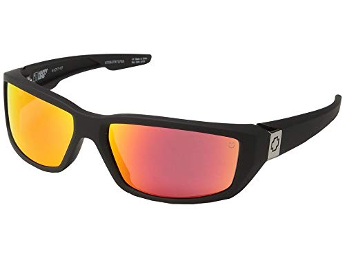 (Spy Optic Dirty Mo Sunglasses Matte Black with Happy Rose Red Spectra Lens Sticker)
