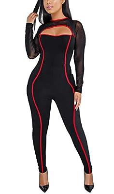HannahZone Womens Sexy Gauze Mesh Jumpsuits See-Through Long Sleeve Bodycon Zipper Clubwear Romper Pants
