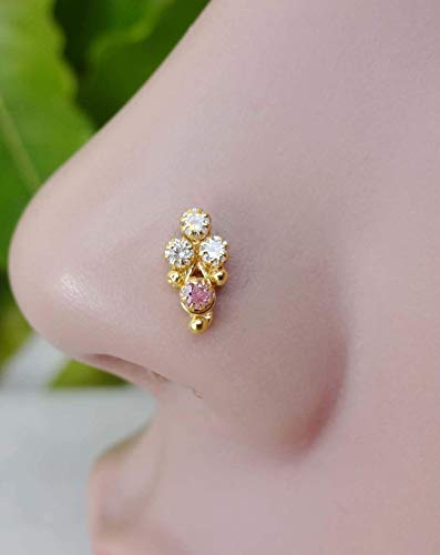 Sterling Silver Nose Hoop,14k Yellow Gold Nose Stud,Gold Nose Ring,Cute Pink Gold Nose Stud,Indian Nose Stud,Birthday Gifts,Mother Day Sale,Indian Nose Jewelry,Indian Nose Hoop(TEJ858)