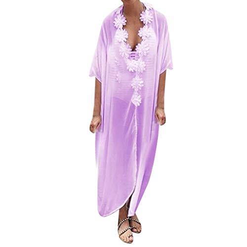 ♖Loosebee♜ Chiffon Dress for Women 3/4 Sleeve, V-Neck Flower Stitching Dress Maxi Skirt Beach Casual Long Party Dress ()