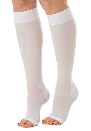 RelaxSan Antiembolism M1350A (White, XL) Open-toe anti-embolism knee high socks - 25-32 mmHg
