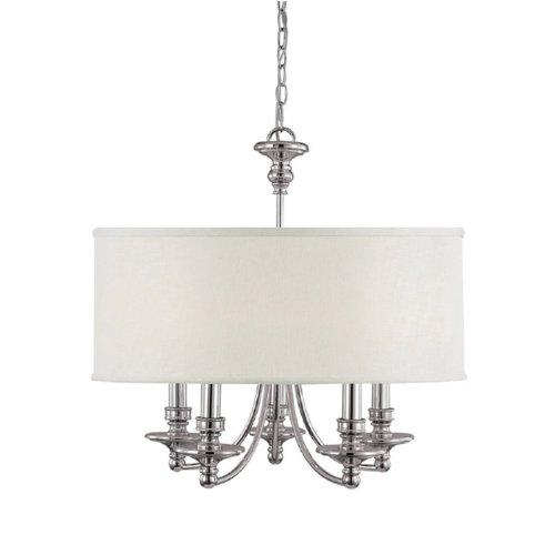 Capital Lighting 3915PN-455 Chandelier with White Fabric Shades, Polished Nickel Finish Review