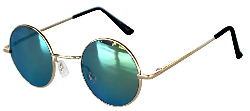 Spring Hinge Gold Frame - Round Retro Hippie Hipster Vintage Circle Style Tint Sunglasses Metal Spring Hinge Gold Frame Yellow Mirror Lens Owl Brand