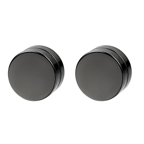 Flongo Men's Women Punk 12mm Stainless Steel Black Magnetic Non-piercing Clip Fake Cheater Stud Earrings by Flongo (Image #7)