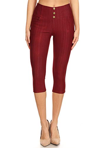Women's High Waist Stretch Skinny Denim Capri Jeggings with Pockets (Large, Capri-Burgundy) (Leggings Stretch Cropped)