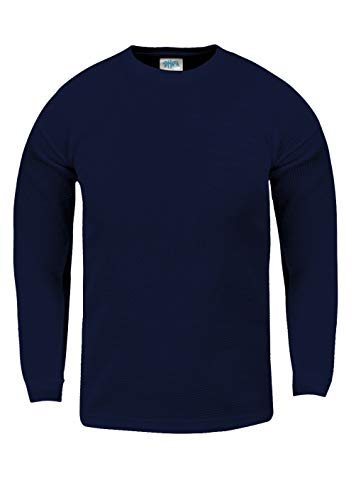 Shaka Wear KTC03_XL Thermal Long Sleeve Crewneck Waffle Shirt Navy XL