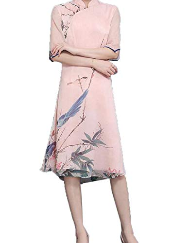 Zimaes-Women Floral Casual Big Hem Chinese Style Traditional Dress Pink3 2XL (Traditional Women Chinese Vest)