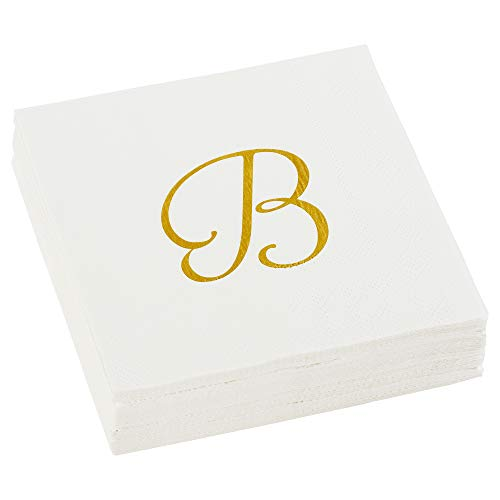 Monogrammed Cocktail Napkins - C.R. Gibson TW40-18279B Beverage Napkins 40 Ct, 5'' W x 5'' L, Cream & Gold