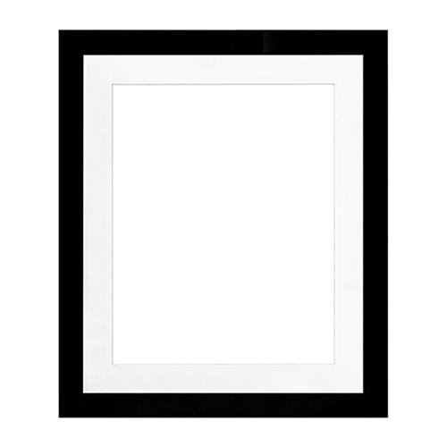 """Framatic Metro Seamless O2024BX67 20x24"""" MDF Composite Wood Board Frame Matted  for a 16x20"""" Photograph - Black"""