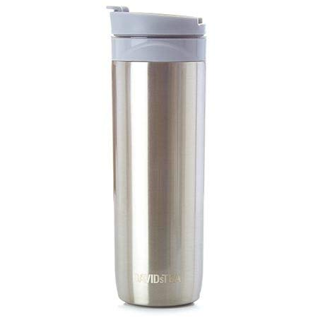 (DAVIDsTEA Tea Press Double-Walled Stainless Steel Travel Mug for Loose Tea, 16 oz / 473 ml (Silver))
