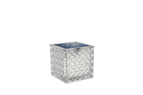 Flower Glass Vase Decorative Centerpiece For Home or Wedding by Royal Imports - Elegant Dimple Effect Cube, 6