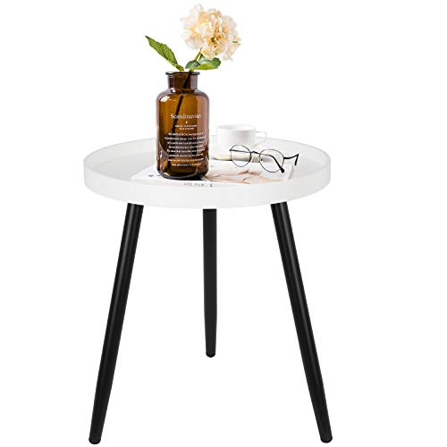 Round End Table White with Black Metal Tripod Table Legs, Small Side Table for Living Room, Sofa Side, Bedroom…