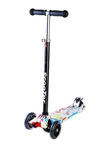 EEDan Scooter for Kids (Deluxe PU Luminous Wheels with A Doodle Board)-Easy Learning Manual Kick Scooters for Children from 2-14 Year-Old with 3 Adjustable Heights and Removable Holder