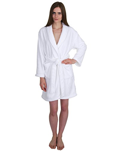 - TowelSelections Women's Robe, Plush Fleece Short Spa Bathrobe Small White