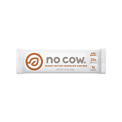 No Cow Protein Bar, Peanut Butter Chocolate Chip, 20g Plant Based Protein, Low Sugar, Dairy Free, Gluten Free, Vegan, High Fiber, Non-GMO, 12 Count by No Cow