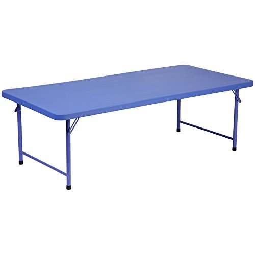 Flash Furniture 30''W x 60''L x 19''H Kid's Blue Plastic Folding Table by Flash Furniture