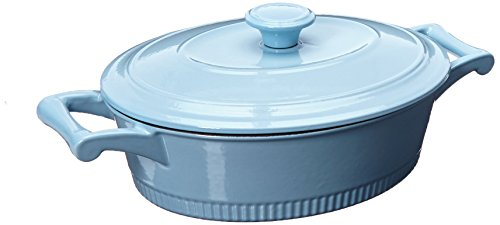 KitchenAid KCTI30CRGB Traditional Cast Iron Casserole Cookware, 3 quart - Glacier Blue