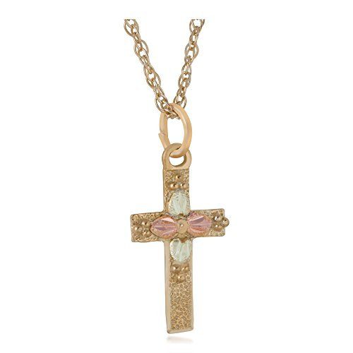 Hammered Finish Cross Necklace, 10k Yellow Gold, 12k Green and Rose Gold Black Hills Gold Motif, 18