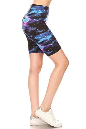 - Leggings Depot LBK-R553-XL Galaxy Printed Biker Shorts, XL