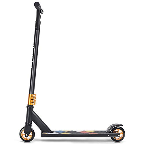 GYMAX Pro Scooter, Premium Freestyle Scooter, Lightweight Aluminum Kick Scooter with PU Wheels, Perfect Complete Pro Scooter for Age 7 Up Kids, Boys, Girls