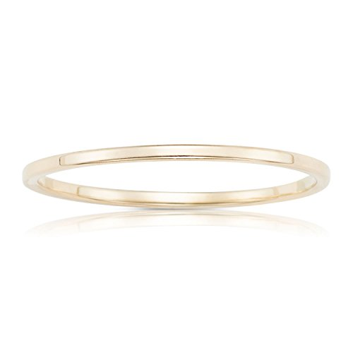 Jewel Connection Real 14K Yellow Gold Petite Stackable Ring With Smooth Square Finish For Women and Girls (14k Smooth Ring)