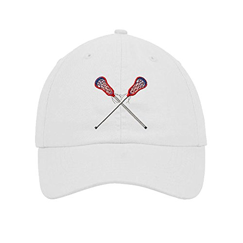 Lacrosse Embroidery Twill Cotton 6 Panel Low Profile Hat White