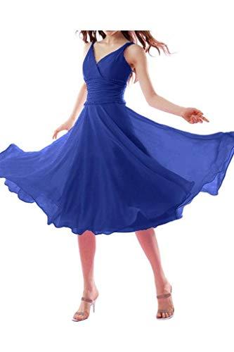 La Kurz Elegant V Chiffon mia Ausschnitt Wadenlang Blau Brautjungfernkleider Abendkleider Einfach Royal Promkleider Traegerkleider Braut qYxwY7rnBR