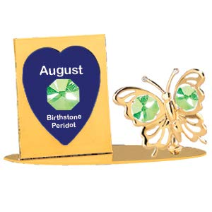 Birthstone - August - Gold Plated Butterfly Petite Picture Frame - Swarovski Crystal Elements