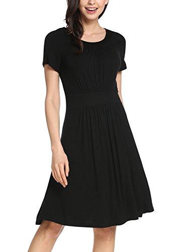 BEAUTYTALK Women Short Sleeve Draped Dress Scoop Neck Flattering Dress Black M (Draped Scoop Neck)